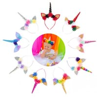 Wholesale artificial flowers for hair bows for sale - Group buy Baby Fashion Unicorn Tiaras for Festival Halloween Lovely Cat Ears Flowers Girls Hair Sticks Kids Hair Bows Headband