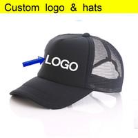basılmış kamyon şapkaları toptan satış-Özel Vinil Baskı LOGOSU / Desen Aduit Trucker Caps Patchwork Şeker Renk Tam Siyah Beyzbol şapkası Yaz Aktif Örgü Kap