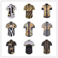 Wholesale Men Dress Shirts Purple Xxl - Brand Men Shirt Designer 3D Printing Casual Shirt Short Sleeve Summer Shirts Slim-Fit Mens Dress Shirts M L XL XXL XXXL BLG0408