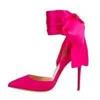 ingrosso grande abito da sera-2018 Donna punta a punta Tacco a spillo Sandalo in raso Scarpe da sera da sera Tacchi eleganti nero / rosa Scarpe personalizzate taglia grande