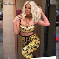 camis largo al por mayor-Tina Beauty Jelena Karleusa Set de dos piezas con tirantes de espagueti Short Bustier Cami Pantalones largos con traje Set Womens Golden Black
