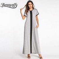 Wholesale color block maxi - Benuynffy Plus Size Ladies Color Block Kaftan Long Dress Summer Womens O-neck Short Sleeve Casual A Line Maxi Dress with Pocket