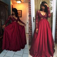 Wholesale cheap elegant long sleeve tops - Burgundy Long Sleeve Prom Dresses Elegant Deep V-Neck A-Line Prom Gown Top Lace Floor Length Cheap African Party Gown