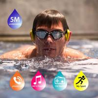 podómetro de radio mp3 al por mayor-Tayogo IPX8 Bluetooth Auriculares de conducción ósea con podómetro Radio FM Subacuático 100% impermeable Reproductor de música MP3 para nadar