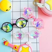 Wholesale kaleidoscope wholesale - PVC Polygon Sunglasses Magic Fantasy Cool Geometric Kaleidoscope Spectacles For Women Make Up Decoration Eyeglass New Arrival 10mm B