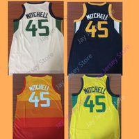 Wholesale Rainbow Jersey - 2018 CITY EDITION Jersey Utah 45 Donovan Mitchell Rainbow Home Away Men Jerseys Size S M L XL 2XL