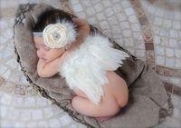 ingrosso fotografia di rosa del bambino-Baby Party Headband Neonato Puntelli Fotografia Diamond Rose Fascia Angel Wings Infant Baby Birthday Photo Prop