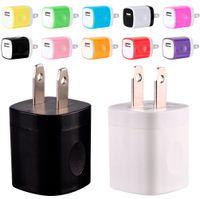 adaptador mp3 para iphone venda por atacado-NOKOKO 12 Cores 5 V 1A EUA USB AC Wall Charger Adaptador de Carregador de Viagem Para Casa carregador Mini USB Para Samsung Iphone 7 8 x Smartphones mp3 pc