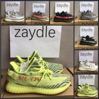 Wholesale white shoes wholesale - 2018 350 V2 Semi Frozen Yellow Blue Tint Bred Beluga 2.0 Sneakers Sply 350 v2 Zebra Cream White Mens Womens Running Shoes