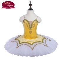 saia tutu amarela para adultos venda por atacado-Tutu de balé amarelo da criança profissional palco vestuário meninas ballet dance performance competição vestidos saia moda adulta