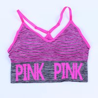 Wholesale Yellow Striped Tank - love pink stripe Running Sports bra Tracksuits for Yoga Gym pink letter striped sport underwear Push Up Paded Bra Fitness Running Tops Vest