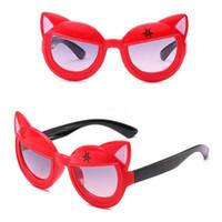 ingrosso occhiali da sole freschi per le ragazze-Nuovi simpatici occhiali da sole per animali Orecchio decorato per bambini specchietti per bambini e ragazzi Occhiali da sole per bambini universale con visiera parasole all'ingrosso