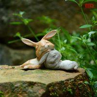ingrosso bonsai terrarium-Collezione Everyday Bunny Conigli In Resina Fairy Garden Miniature Gnome Moss Terrarium Craft Bonsai Home Decor Per Regalo di Pasqua