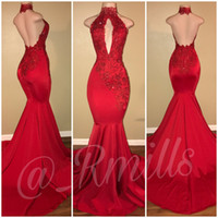 Wholesale Simple Evening Dresses Designs - Cheap Simple 2018 New Design Red Mermaid Prom Dresses High Jewel Neck Applique Beads Sweep Train Formal Evening Party Gowns Backless