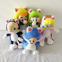 peluş oyuncak prenses toptan satış-5 adet / grup 18-20 cm Süper Mario Kedi Luigi prenses Mario Peluş Bebek Dolması Oyuncak Çocuk Hediyeler Için