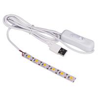interruptores led impermeável venda por atacado-Usb 5 v led strip10cm 15 cm 20 cm 25 cm smd 5050 sem iluminação à prova d 'água com branco quente interruptor branco para diy decoração