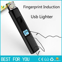 Wholesale electric smoking pipes - Metal Windproof Fingerprint Touch Sensor Rechargeable USB Charging Electric Cigarette Lighter Plasma for Smoking Tobacco Pipe