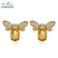 s925 silber groihandel-LAMOON Bee 5x7mm 1ct 100% Natural Citrine 925 sterling-silver-jewelry Stud Earring S925 LMEI041 Y1892905