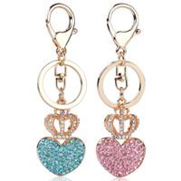 wholesale heart handbags 2018 - Rhinestone Heart Crown Keychain Charm Women Handbag Pendant Keyring Lover Crystal Key Holder Bag Accessory Lovers Gift KKA1259