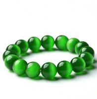grünes opal perlenarmband großhandel-Natürliche Grüne Opal Steinkugeln Armband Armreif Damen Kurze Einschichtige Perlen Rosenkranz Armband Hand Kette Für Frauen