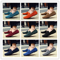 Wholesale Grey Men Boat Shoes - Summer Men's Penny Loafers Moccasin Driving Shoes Slip On Flats Boat Shoes Size 38-48 AK2088
