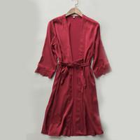 damen nachtwäsche kleider großhandel-Frauen Sexy Lace Silk Nightwear Damen Langarm Lace Up Robes Kleid Kleid Kimono Nachtwäsche Weibliche Nacht Robe Nacht Tragen