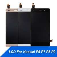 huawei telefone p6 großhandel-Handy-Touch-Panel für Huawei P6 P7 P8 P9 LCD Display Reparatur Touchscreen Digitizer Assembly Screen für Huawei P8 P9 Lite kostenloser Versand
