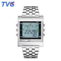 смотреть телевизор tvg оптовых-TVG  Sports Watches LED Digital Watch Mens Silver Stainless Steel Strap Date Day Week Alarm Clock Gifts For men