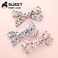 цветочный бант ткани оптовых-3PCS Floral Fabric bow Clips, Boutique Cotton Cloth Hair bow Hair Clips, Barrettes Kids Girl's Headwear Accessories
