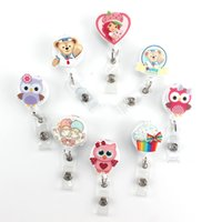 Wholesale Nurse Id - Cute Bear Washi Nurse Retractable Pull Key ID Card Clip ID Badge Cute Owl Card Holder Reel for Bus for Girl Best Gift PY038