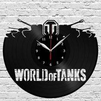 большие механические настенные часы оптовых-World of Tanks Настенные часы с виниловыми пластинками Оригинальный подарок Art Home Decor (Размер: 12 дюймов Цвет: черный)