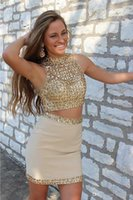 Wholesale Plus Size Bodycon Satin Dresses - Two Pieces Gold Bodycon Short Homecoming Cocktail Dress Sequined High Neckline prom dresses Zipper Back Prom Gown For Senior