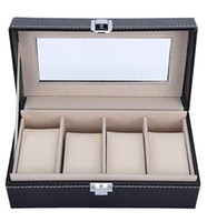 glass display cases venda por atacado-VALYRIA Watch Box Pequeno 4 Mens Couro Preto Display De Vidro Top Jóias Organizador Caso