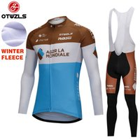 Wholesale Thermal Wear Clothes - AG2R 2018 Cycling Jersey Sets Long Sleeve Winter Thermal Fleece Cycling Clothing MTB Bicycle Wear Ropa Ciclismo Race Cycling Clothes Kits