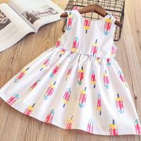 bebek kıyafeti dondurma toptan satış-Kızlar Yay Ruffles Elbise Dondurma Baskı Sevimli Bebek Beyaz Renk Pamuklu Giysiler Prenses Kore Moda İlkbahar Yaz Elbiseler 2-10 T
