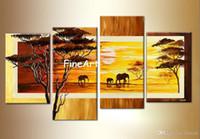 ingrosso disegni paesaggistici moderni-Dipinto a mano 4 pannello wall art africa paesaggio pittura a olio moderna astratta casa merci arte della parete sconto moderno divano scenografia