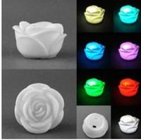 rose blume führte kerze lichter großhandel-7 Farben ändern Rose Blume LED Licht Nacht Kerze Licht Lampe romantisch für Hochzeit Bar Party