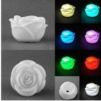 gül çiçek mumları toptan satış-7 Renk Değiştirme Gül Çiçek LED Işık Gece Mum Işığı Lambası Romantik Düğün Bar Partisi için