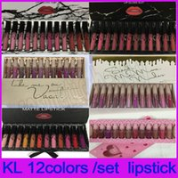 Wholesale 2018 KL Matte Lipstick Set of colors Liquid lipstick black bow Lip Gloss Set by KL cosmetics