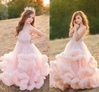 Wholesale flowers girl wedding dress spaghetti straps online - Blush Pink Beaded Flower Girls Dresses Spaghetti Straps Tiered Tulle Ball Gown Girls Pageant Dresses Children Birthday Party Dress
