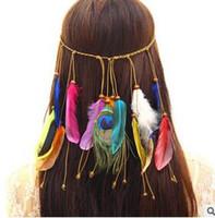 accesorios para el cabello indio al por mayor-120 unids / lote DIY Bohemia Style Peacock Feather Headbands Multi Hippie Ethos Indian Tassel Hair Bands Accesorios para el cabello Herramientas de envío gratuito