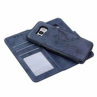 étui en cuir pour samsung s6 edge achat en gros de-Luxe Chic Etui Portefeuille En Cuir Téléphone Téléphone Handcraft Couture Couverture Détachable Pour Samsung Galaxy S6, S6 bord, S7, S7 bord, S8, S8 Plus, S9