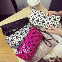 Wholesale Pvc Wrist Bands - The new 2018 laser diamond zero wallet Fashion geometric ling lattice package one shoulder portable cosmetic bag wrist band