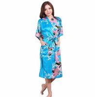 ingrosso abiti di seta floreali-Plus Size XXXL Blu Cinese Femminile Seta Rayon Robe Kimono Night Gown Stampato PeacockFloral Sleepwear pijamas mujer