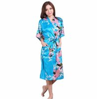 cd7dad23bab Plus Size XXXL Blue Chinese Female Silk Rayon Robe Kimono Night Gown  Printed Peacock Floral Sleepwear pijamas mujer