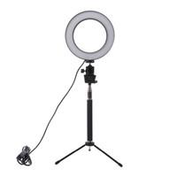 cámaras de video al por mayor-Lightdow Atenuador LED Luz de anillo de cámara de estudio Photo Phone Lámpara de luz de video con trípodes Selfie Stick anillo Luz de relleno para cámara Nikon de Canon