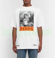 kuş stili gömlek toptan satış-2018 Lüks New York Moda Yüksek Kalite Çin Tarzı Heron Preston Kuş Erkekler Sokak Pamuk Rahat Yaz Kısa Kollu tasarımcı T-Shirt