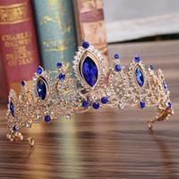 ingrosso blu corona tiaras-KMVEXO Wedding Nuziale Rosso Blu di Cristallo Diademi Corone Princess Pageant Prom Strass Velo Tiara Fascia Accessori Per Capelli Sposa S919