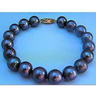 Wholesale strands tahitian black pearls - 10-11MM TAHITIAN BLACK PEARL BRACELET 7.5-8 INCH 14K YELLOW GOLD CLASP MARKED