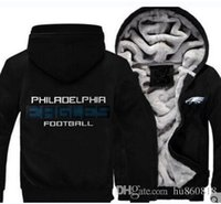 sudadera al por mayor-New Dropshipping Philadelphia Sweatshirt Warm Fleece Thicken Eagle Hoody Chaqueta con cremallera Coat Sudaderas Sudaderas Chaqueta actualizada